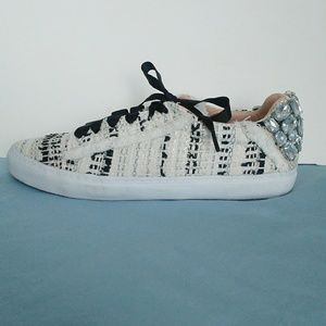 Zara shoes jeweled ribbon laces textured size 40